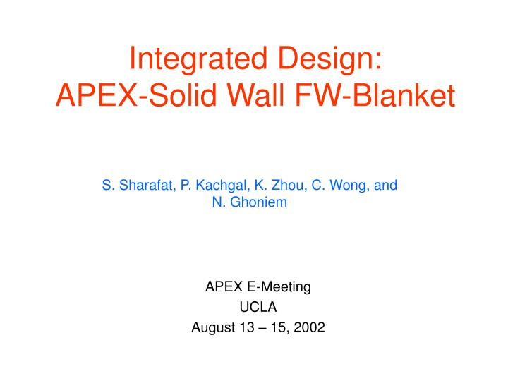 integrated design apex solid wall fw blanket n.