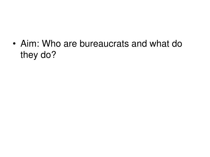Aim: Who are bureaucrats and what do they do?