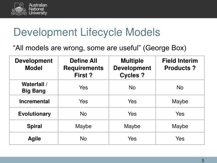Development lifecycle models