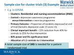 sample size for cluster trials 3 example