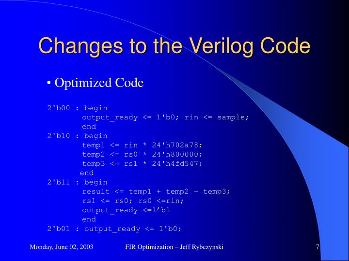 Changes to the Verilog Code