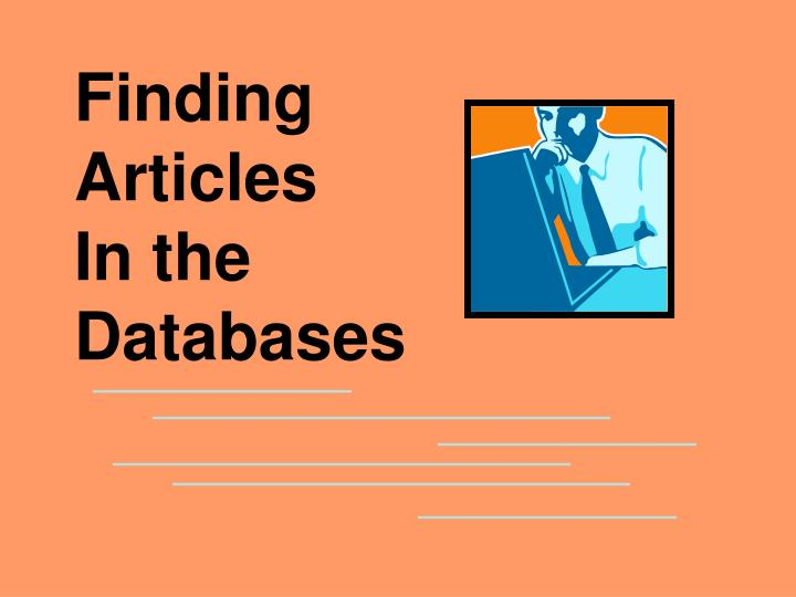 finding articles in the databases n.