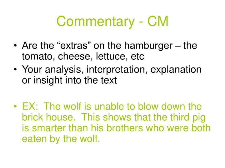 Commentary cm