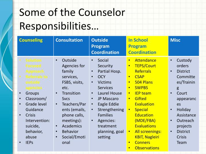 Some of the counselor responsibilities