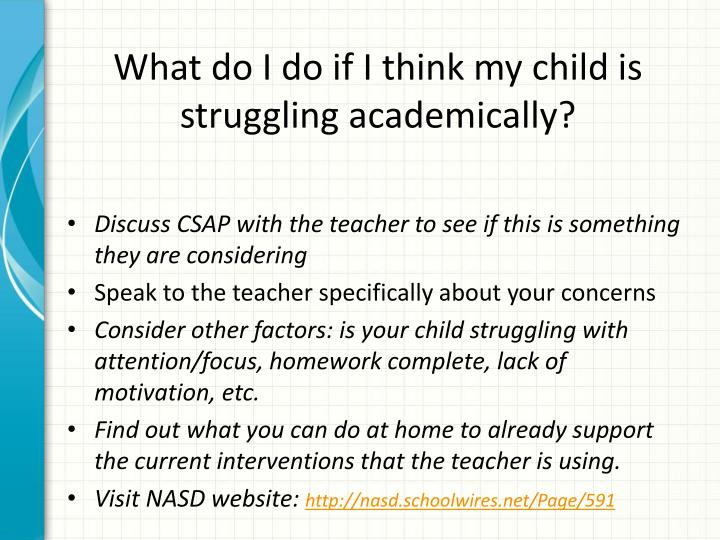 What do I do if I think my child is struggling academically?
