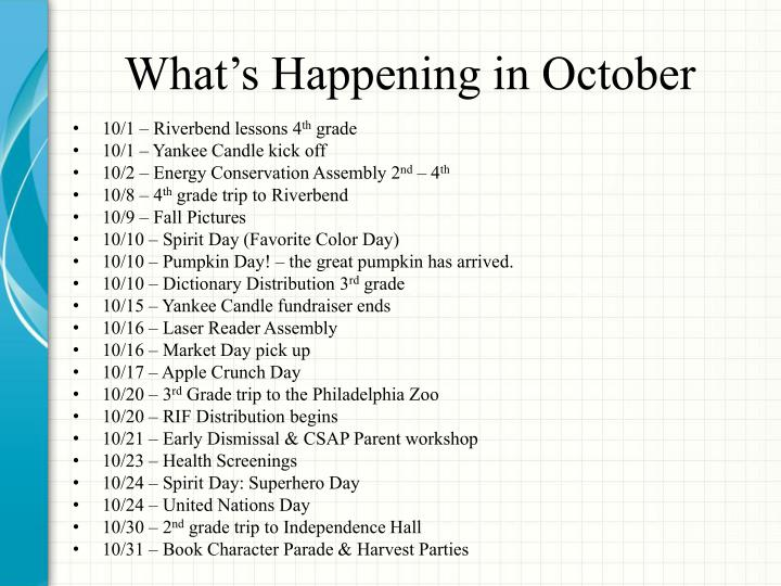 What's Happening in October