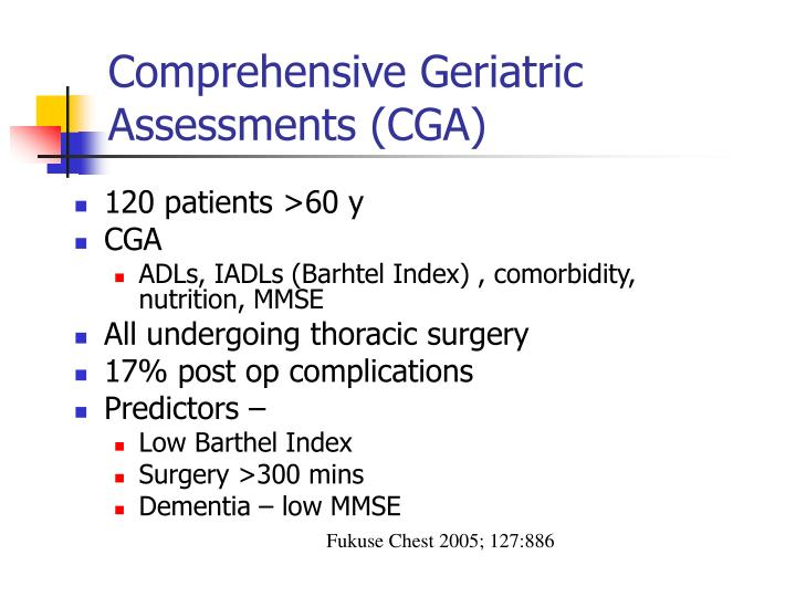 Comprehensive Geriatric Assessments (CGA)