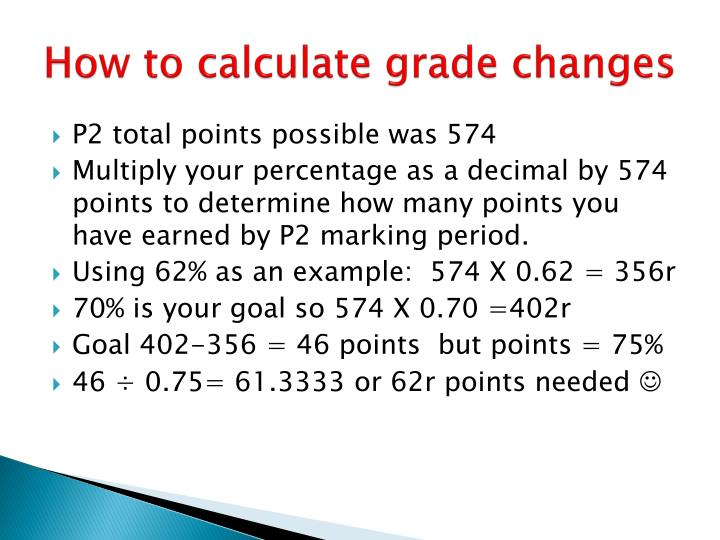 How to calculate grade changes