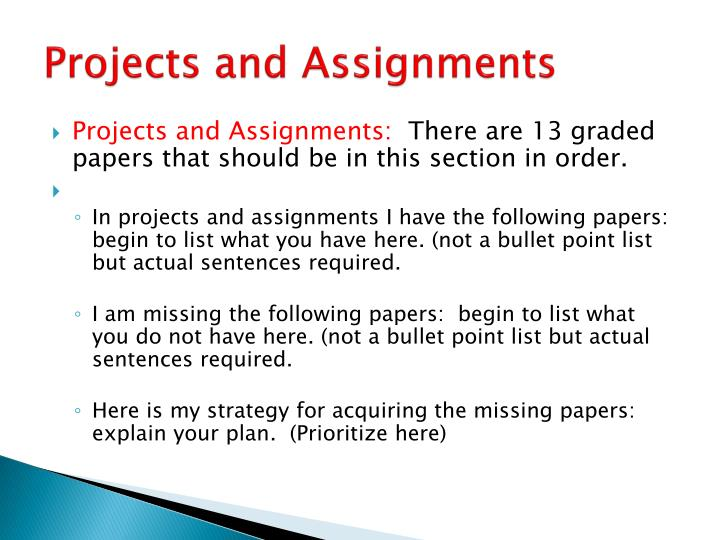 Projects and Assignments