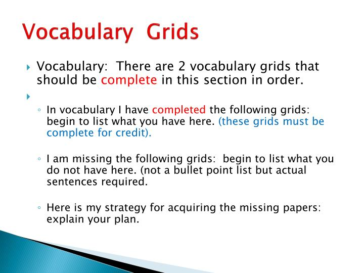 Vocabulary  Grids
