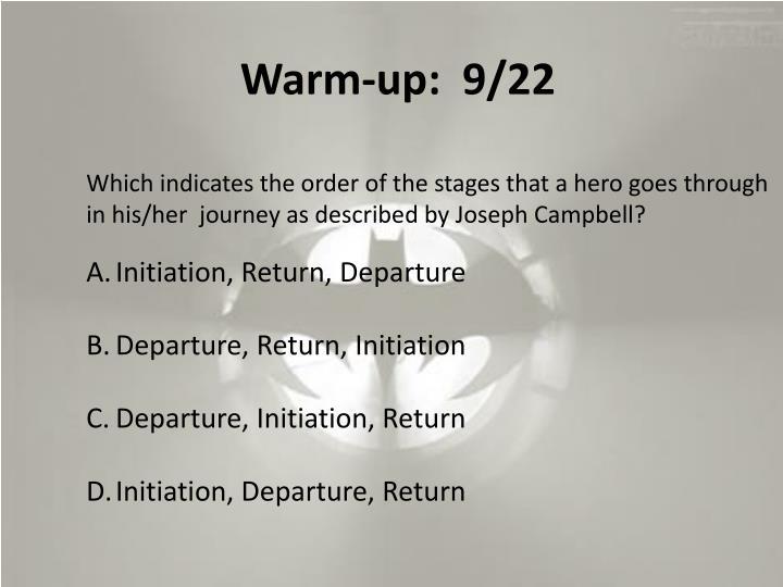 Warm-up:  9/22