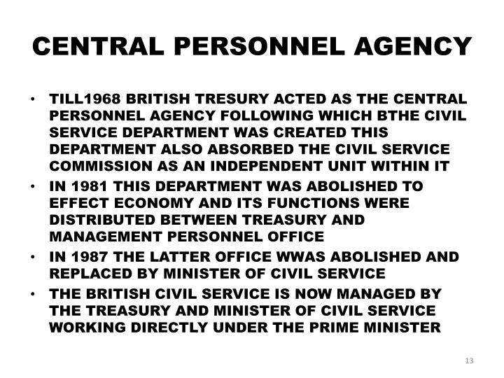 CENTRAL PERSONNEL AGENCY