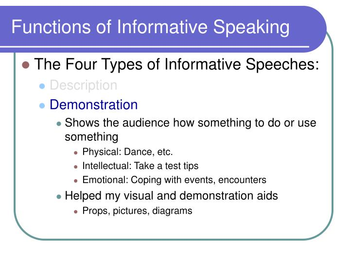 4 types of informative speech