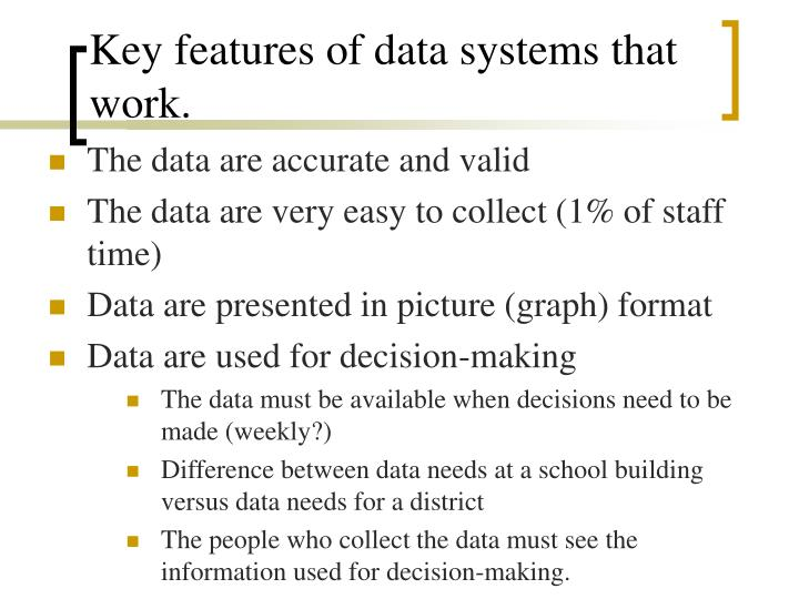 Key features of data systems that work.