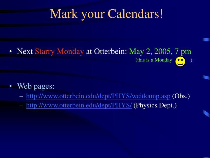 Mark your Calendars!