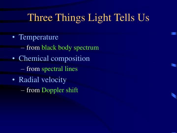 Three Things Light Tells Us