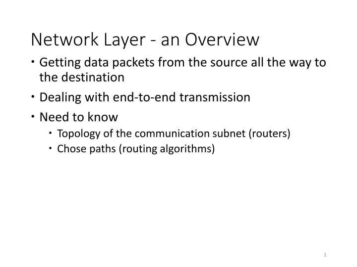 network layer an overview n.