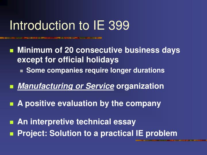 introduction to ie 399 n.