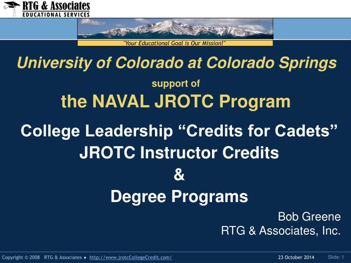 university of colorado at colorado springs support of the naval jrotc program n.