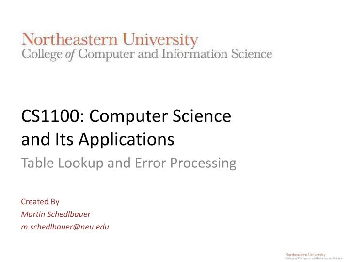 cs1100 computer science and its applications n.