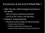 economics at the end of world war i