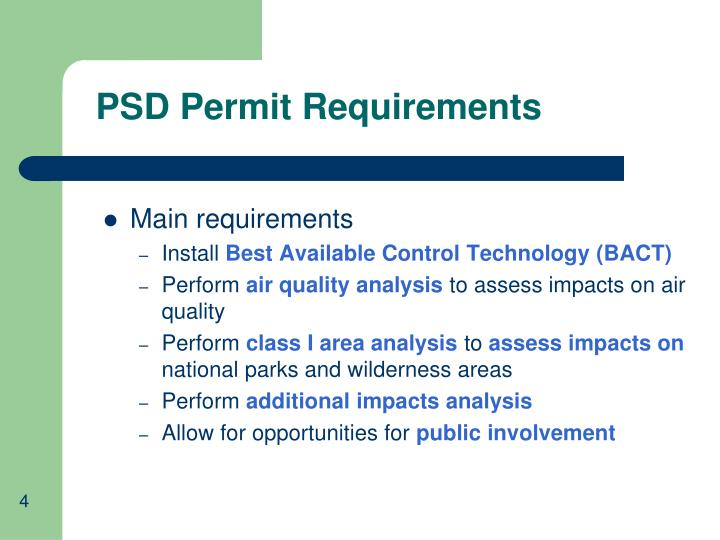 PSD Permit Requirements