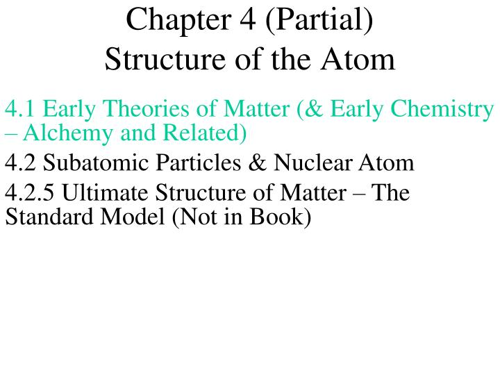 chapter 4 partial structure of the atom n.