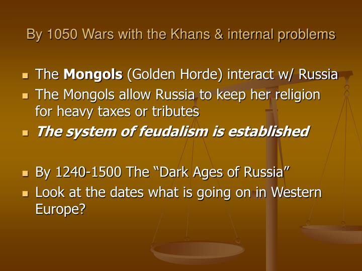 By 1050 Wars with the Khans & internal problems