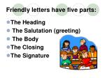 friendly letters have five parts