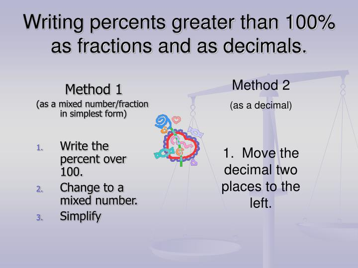 Writing percents greater than 100 as fractions and as decimals
