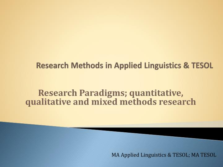 research methods in applied linguistics tesol n.