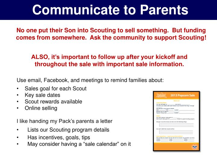 Communicate to Parents