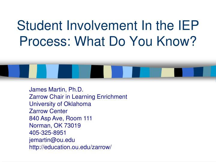 student involvement in the iep process what do you know n.