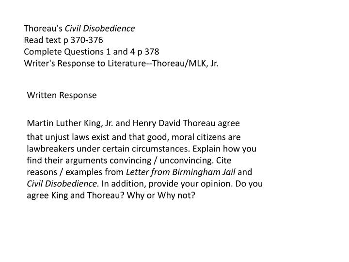 an introduction to the history of martin luther king and henry david thoreau