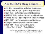 and the ira s many cousins