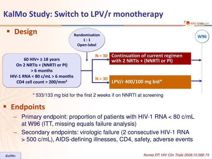 Kalmo study switch to lpv r monotherapy