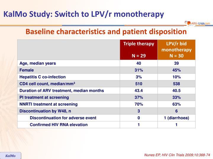 Kalmo study switch to lpv r monotherapy1