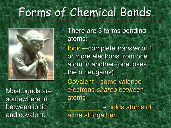 Forms of chemical bonds