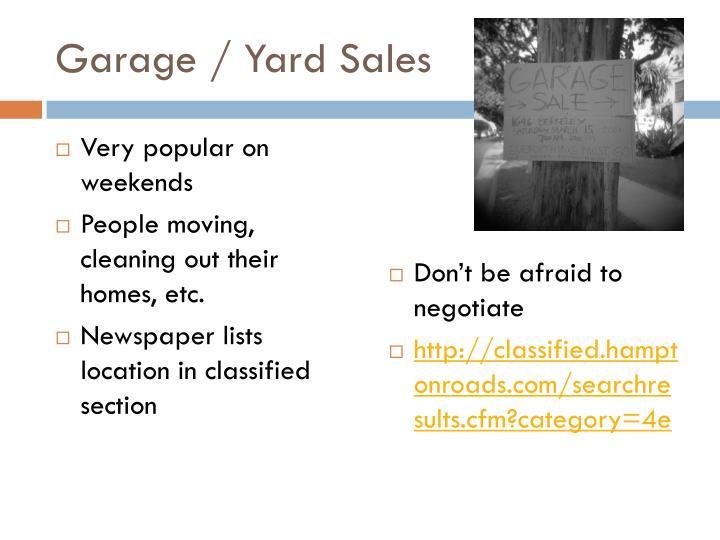 Garage / Yard Sales