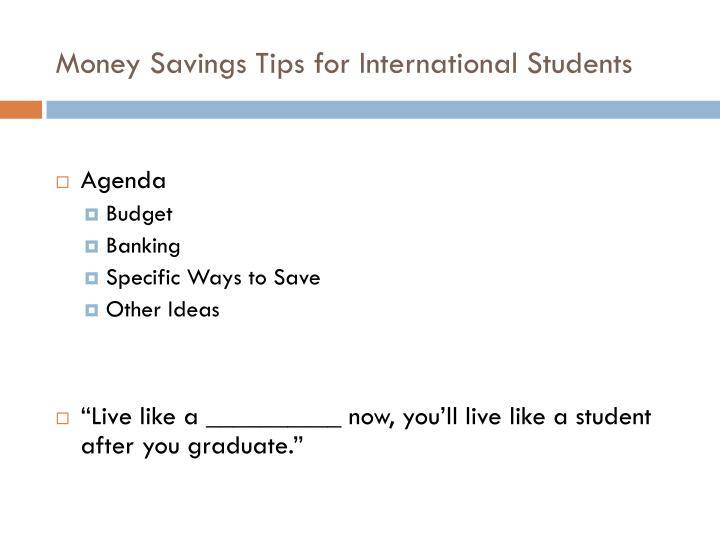 Money savings tips for international students