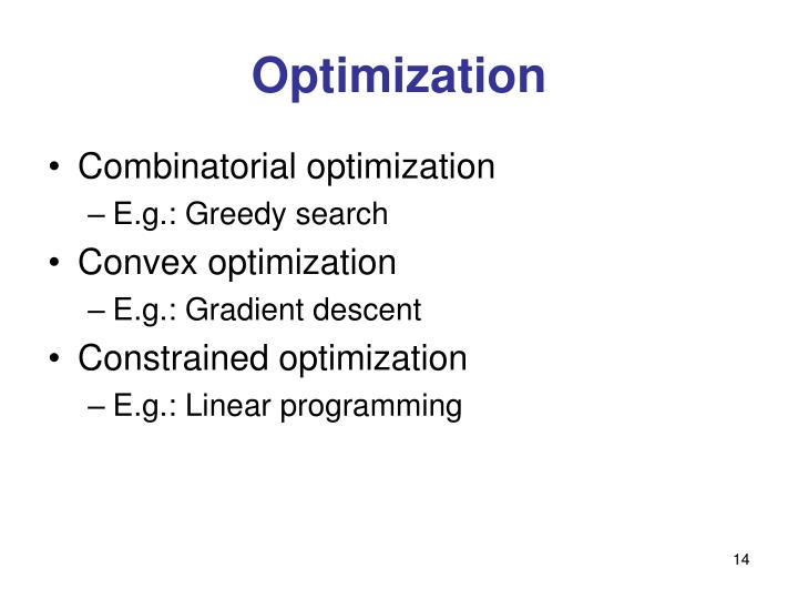 Optimization