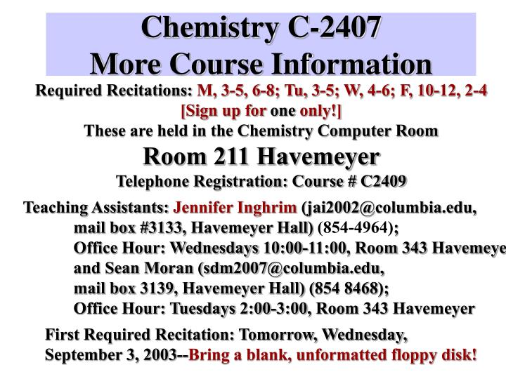 Chemistry c 2407 more course information