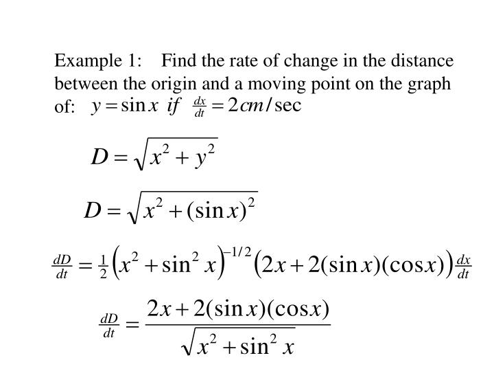 Example 1:    Find the rate of change in the distance between the origin and a moving point on the graph of: