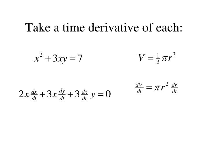 Take a time derivative of each: