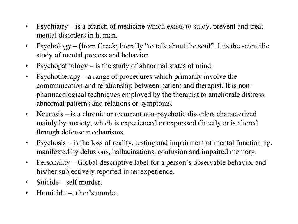 PPT - Psychiatric Terminology Human Behavioral Science ...