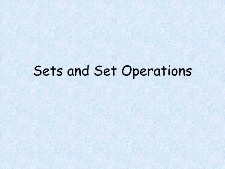 sets and set operations n.
