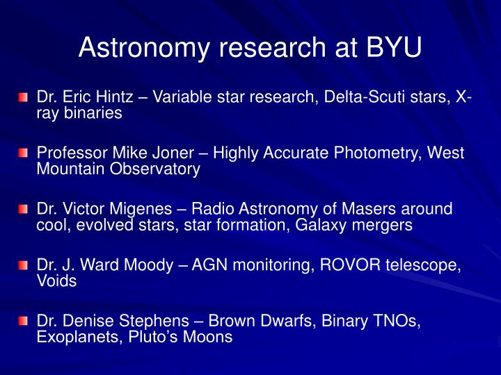 Astronomy research at BYU