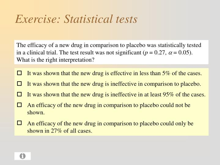 Exercise statistical tests