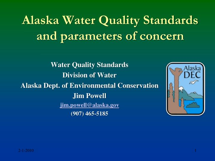 alaska water quality standards and parameters of concern n.