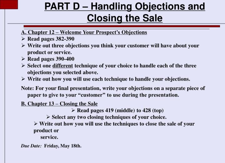 part d handling objections and closing the sale n.